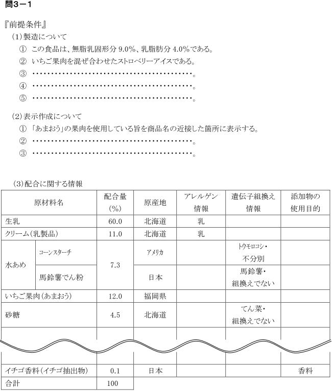食品表示検定上級問3(表示チェック)の問題形式例2
