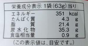 「ハートチップル」の栄養成分表示