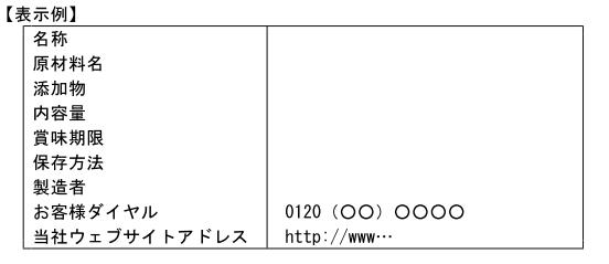 (加工-111)FAX番号、ウェブサイトアドレスを食品表示基準別記様式1の枠内に表示する場合の例