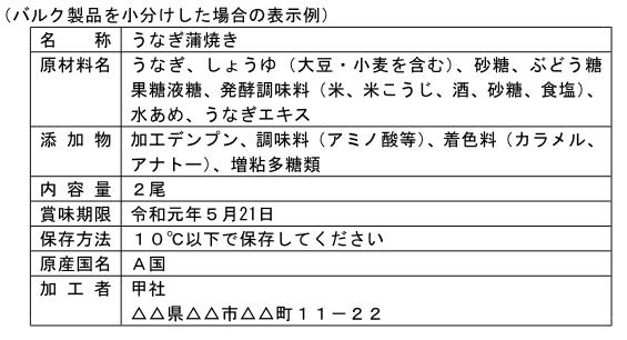 (加工-161)輸入したバルク製品を小分けした場合の表示例