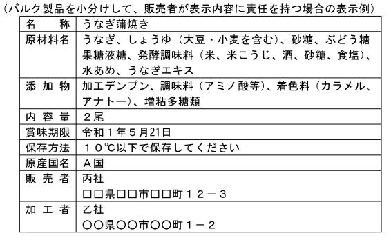 (加工-162)輸入したバルク製品を小分けして、販売者が表示内容に責任を持つ場合の表示例