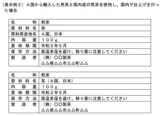 (加工-164)A国から輸入した荒茶と国内産の荒茶を使用し、国内で仕上げを行った場合の表示例