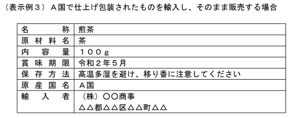 (加工-164)A国で仕上げ包装された茶を輸入し、そのまま販売する場合の表示例