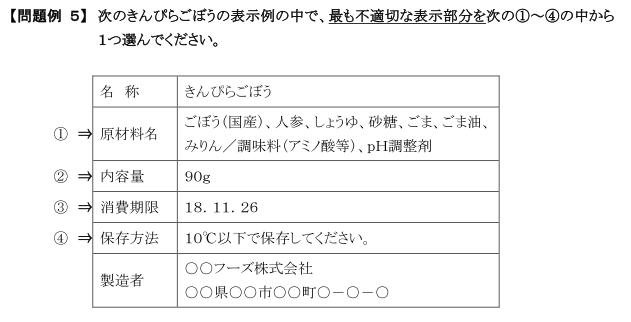 食品表示検定初級第18回問題例5