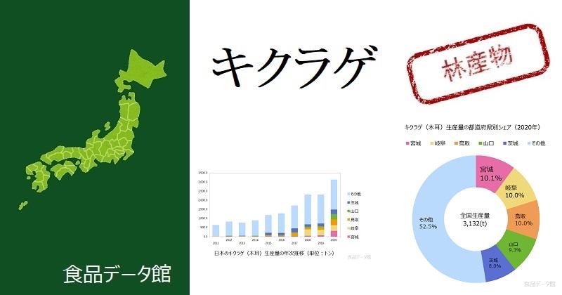 日本のキクラゲ(木耳)生産量ランキングのアイキャッチ